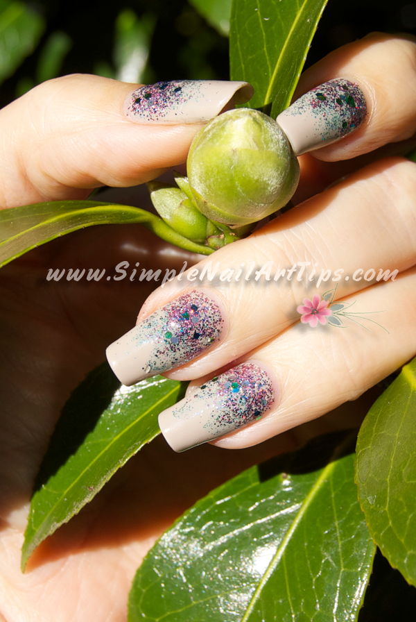Glitter Nail Polish Gradient Nail Art Tutorial Pink And Turquoise
