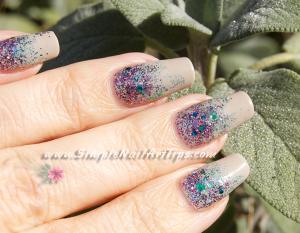 Pink Turquoise Glitter Gradient nail art 3 300x233 Pink Turquoise Glitter Gradient nail art 3