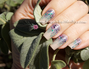 Pink Turquoise Glitter Gradient nail art 4 300x233 Pink Turquoise Glitter Gradient nail art 4