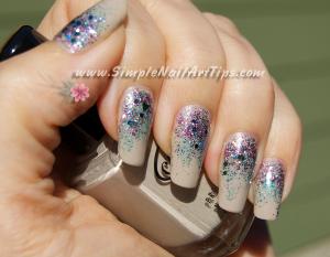 Pink Turquoise Glitter Gradient nail art 5 300x233 Pink Turquoise Glitter Gradient nail art 5